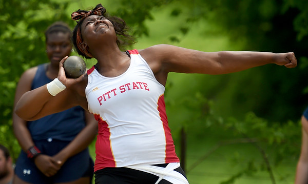 Pittsburg State's Jasmine Smith competes in the shot put during the MSSU Last Chance meet on Friday at Missouri Southern.<br /> Globe   Laurie SIsk