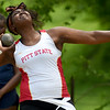 Pittsburg State's Jasmine Smith competes in the shot put during the MSSU Last Chance meet on Friday at Missouri Southern.<br /> Globe | Laurie SIsk