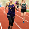 Sarcoxie's McKenna Bass secures a first place finish for the Sarcoxie 4x200 relay team during Class 2 District 5 Track and Field on Saturday at Sarcoxie High School.<br /> Globe | Laurie Sisk