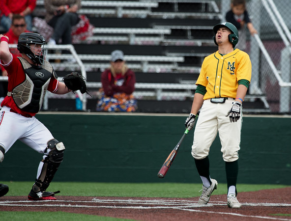 Missouri Southern's Troy Gagan reacts to a called strike three to end the inning with a runner on base during Sunday's MIAA tournament game against the University of Central Missouri at Pittsburg State University.<br /> Globe | Roger Nomer