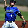 Crowder College's Ross Carver delivers a pitch to the plate during the Roughriders game against Connors State on Friday at Joe Becker Stadium.<br /> Globe | Laurie Sisk