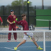 Joplin's Kaden Seward returns a shot during district tennis play at Carthage on Friday.<br /> Globe | Roger Nomer
