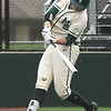 Missouri Southern's Matt Miller connects for an rbi single during the Lions' MIAA Championships opening game against Northwest Missouri on Thursday at Pittsburg State's Al Ortolani Field.<br /> Globe | Laurie Sisk