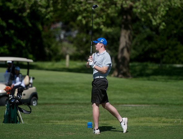 Carthage's Mason Bryant tees off during sectional play at Schifferdecker Golf Course on Monday.<br /> Globe | Roger Nomer