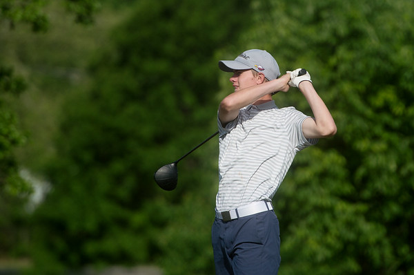 Joplin's Fielding Campbell tees off during sectional play at Schifferdecker Golf Course on Monday.<br /> Globe | Roger Nomer
