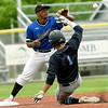 Crowder's Frelin Cabrera (4) gets the force out at second base on State Fair's Brett Holden (1) during their Region XVI Division I game on Thursday at Joe Becker Stadium.<br /> Globe | Laurie Sisk