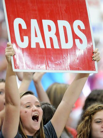Webb City fans get fired up during the Class 4 championship game at the Edward Jones Dome at St. Louis.<br /> Globe/T. Rob Brown