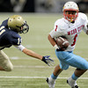 Webb City's Phoenix Johnson eludes a defender during a play in the Class 4 championship game at the Edward Jones Dome at St. Louis. <br /> Globe/T. Rob Brown