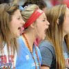 Three Webb City fans voice their support during the Class 4 championship game with Jefferson City Helias at the Edward Jones Dome in St. Louis on Saturday, Nov. 24, 2012.<br /> Left: Jordan Chaffee, WC HS senior<br /> Middle, yelling: Megan Swarnes, Webb City HS senior<br /> Right: Skylar Knight, WC HS junior<br /> Globe/T. Rob Brown