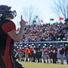 Globe/T. Rob Brown<br /> Lamar quarterback Levi Petersen reacts in the end zone after scoring a touchdown Saturday afternoon, Nov. 17, 2012.