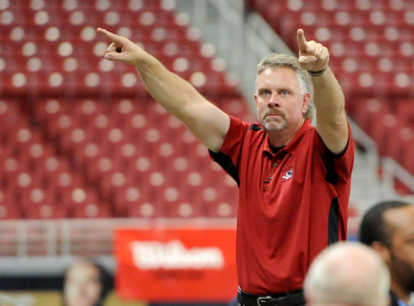 Lamar coach Scott Bailey points to the crowd to let them know the team appreciates all their support during the championship game in St. Louis. <br /> Globe/T. Rob Brown