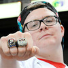 Globe | T. Rob Brown<br /> Webb City former player and current senior Theran Crouch proudly displays his two state championship rings from past years as he cheers from the crowd Friday afternoon, Nov. 29, 2013, during the Show-Me Bowl at the Edward Jones Dome in St. Louis. Crouch was unable to play this season due to illness.