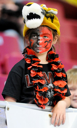 Globe | T. Rob Brown<br /> Seven-year-old Lamar fan Victoria O'Neal is adorned in a Tiger theme as she watches the team play Friday evening, Nov. 29, 2013, during the Show-Me Bowl at the Edward Jones Dome in St. Louis.