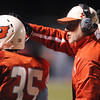 Globe/Roger Nomer<br /> Webb City Head Coach John Roderique congratulates Tyler Davison on his second touchdown of the game during Monday's district game in Webb City.