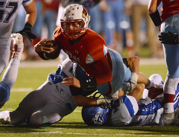 Globe/Roger Nomer<br /> Webb City's Cade Beason dives for a first down during Friday's game against Harrisonville at Webb City.