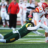 Globe/Roger Nomer<br /> Missouri Southern's Chad Nolan tackles Pittsburg State's Austin Panko during Saturday's game at Fred G. Hughes Stadium.