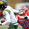 Pittsburg State defensive back Keeyon Incle (21) tries to catch up to Missouri Southern receiver Donavan Carter (3) during their game on Saturday at Pittsburg.<br /> Globe | Laurie Sisk