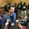 Northeastern A&M head coach Clay Patterson on Wednesday at Downstream Casino talks to reporters about his team's selection to play in the Midwest Classic Bowl, which will be Dec. 3 in Miami.<br /> Globe | Laurie Sisk