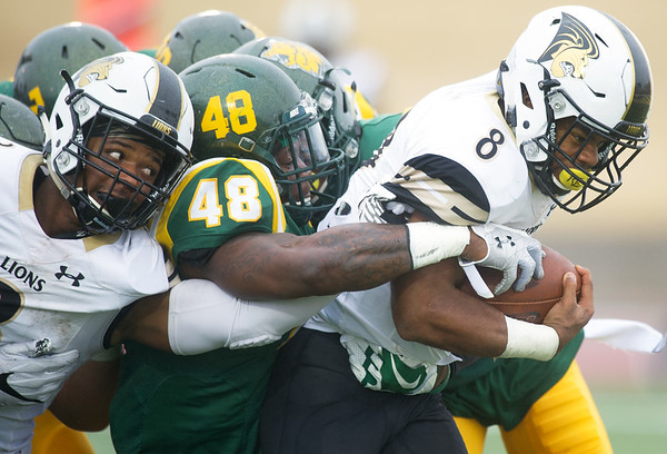 Missouri Southern's Angelo Sumler (48) tries to strip the ball from Lindenwood's Calen Campbell (8) during their game on Saturday at Fred G. Hughes Stadium. Also pictured, left is Lindenwood's Kendell Sparks.<br /> Globe | Laurie Sisk