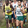 Missouri Southern's Gidieon Kimutai (211) tries to pass Northwest's Karim Achengli (289) during the Central Region Cross Country Championships on Saturday at MSSU.<br /> Globe | Laurie Sisk