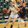 Missouri Southern's Krista Clark  (34) tries to get past Panhandle State's Addison Munsch (21)  during their game on Tuesday night at Leggett & Platt.<br /> Globe   Laurie Sisk