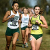 Missouri Southern's julianna Determan (218) battles Oklahoma Baptist's Tessa Potter (330) during the Central Region Cross Country Championships on Saturday at MSSU.<br /> Globe | Laurie Sisk