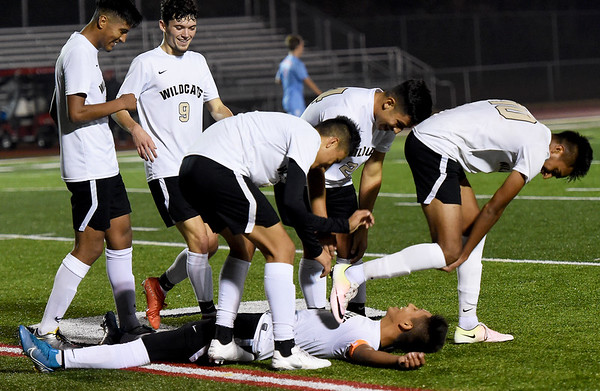 Neosho teammates celebrate with Diego Vargas as he lays on the turf after scoring a first period goal during their Class 3 District 12 championship game against Webb City on Wednesday night at Carl Junction.<br /> Globe | Laurie Sisk