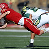 Pittsburg State defensive back Josh Hornback comes up short of the interception on a pass intended for Missouri Southern's Keandre Bledsoe (85) during their game on Saturday at Carnie Smith Stadium.<br /> Globe | Laurie Sisk