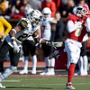 Pittsburg State receiver Lorenzon West (8) can't find the handle on a long pass as Missouri Western's Sam Webb (27) defends during their game on Saturday at PSU.<br /> Globe   Laurie Sisk