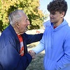 Foxberry Terrace Senior Living Center resident Wayne Porter chats with Webb City player Caden Myers before the Cardinals Tuesday practice at Foxberry.<br /> Laurie Sisk