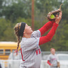 Globe/Roger Nomer<br /> Webb City's Desirea Buerge snags a fly ball during Saturday's game against McDonald County.