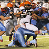 Globe/Roger Nomer<br /> (from left) Webb City defenders Nate Brown, Dalton Humphrey, Logan Williams and Brayden Goff stop Republic's James Desjardines during Wednesday's game.