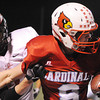 Globe/T. Rob Brown<br /> Webb City's Cooper Smith gets pushed out of bounds by West Plains' Nick Barslow Thursday night, Oct. 25, 2012, during first-bracket play in the Class 4 Championship at Webb City's field.