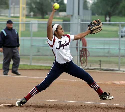 Globe/Roger Nomer<br /> Joplin's Mikaela Cox delivers a pitch during Thursday's game against Carthage.