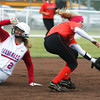 Globe/Roger Nomer<br /> Webb City's Desirea Buerge steals second behind Republic's Lauren Strobel during Friday's game.