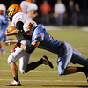 Globe/Roger Nomer<br /> Webb City's Jose Speer chases down Republic quarterback James Desjardines for a loss during Wednesday's game.