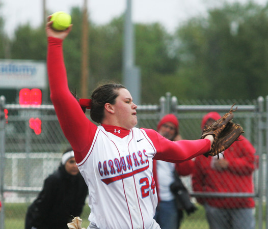 Globe/Roger Nomer<br /> Webb City's Kaitlin Beason delivers a pitch during Friday's game against Republic.