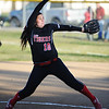 Lamar's Emmie Robertson pitches against Marionville Monday evening, Oct. 21, 2013, at Lamar's field.<br /> Globe | T. Rob Brown