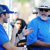 NASCAR driver Kasey Kahne (next to left) is interviewed by Big Dog radio personality Hank Rotten Junior (right) during a Farmers Insurance event Wednesday, Oct. 2, 2013, at Cunningham Park.<br /> Globe | T. Rob Brown