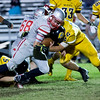 Globe/Israel Perez<br /> Miller's Cardinals QB Eric Erickson (5) faces tackle by Diamond's Wildcats Kade Taylor (62) during Friday's game in Diamond.