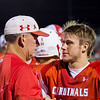 Globe/Israel Perez<br /> Webb City's Coach John Roderique talks with his son Tyson Roderique after the first quater on friday's game at Webb City.