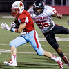 Globe/Israel Perez<br /> Webb City's Kaleb Potts (3) is takle by Isrrael DeSantiago during friday's game at Webb City.