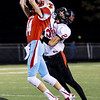 Globe/Israel Perez<br /> Webb City's Nate Deadmond (14) nearly intercepts pass from Dagan Stites (2) during friday's game vs McDonald County