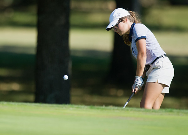 Globe/Roger Nomer<br /> Joplin's Anna Iorio chips onto the green on Monday at Briarbrook Golf Course.