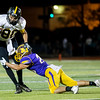 Globe|Israel Perez<br /> Cassville's DJ White (80) tries to gain yards as Mason Swearingen (20) of Monett tackles during their game on Friday night at Burl Fowler Stadium in Monett.
