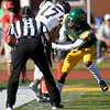 Missouri Southern's Korenzo Credit (7) keeps Central Oklahoma receiver Mekail Hall (17) out of the endzone during their game on Saturday at Fred G. Hughes Stadium.<br /> Globe | Laurie Sisk