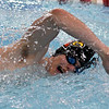 Webb City's Levi Lindsay competes in the 200 yard freestyle on Thursday during the COC Invitational at Webb City. Lindsay placed third in the event.<br /> Globe | Laurie Sisk