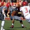 Pittsburg State defenders Morgan Selemaea (7) and Creighton Sanders (20) track down Central Missouri runningback Devante Turner (3) during their game on Saturday at Carnie Smith Stadium.<br /> Globe | Laurie Sisk