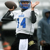 Northeastern Oklahoma A&M quarterback Guy Myers (14) runs a passing play during practice on Wednesday at NEO.<br /> Globe   Laurie Sisk