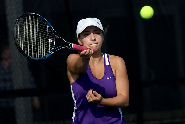 Thomas Jefferson's Julianna Joseph returns a volley as she partners with Jane Min during their no. 2 doubles match agaist Nevada's Erika Watanaba and Lexi Leighty on Wednesday at Millenium Tennis.<br /> Globe | Laurie Sisk